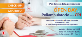 SABATO L'OPEN DAY SALUTE DALLA CROCE ROSSA, CHECK UP E ANALISI GRATUITE