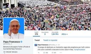 Il profilo Twitter di Papa Francesco, Roma, 8 Agosto 2014. ANSA/ WEB/ TWITTER